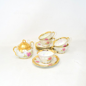 Service 5 Coffee Cups Porcelain Bavaria + Plates + Sugar Bowl (defects)