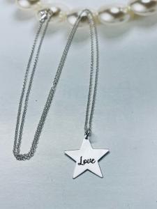 Collana con ciondolo stella inciso argento