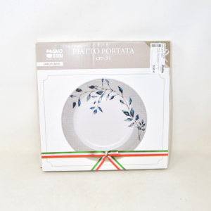 Plate Service White With Stick Leaves 31 Cm New