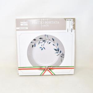 Piatto Portata Bianco Con Ramo Foglie 31 Cm Nuovo