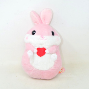 Stuffed Animal Rabbit Pink With Heart Red New