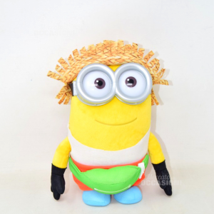 Stuffed Animal Minion With Pouch Green And Hat In Straw