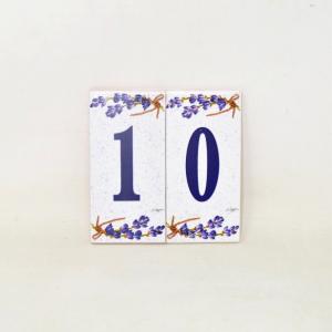 Coppia Piastrelle Con Numero Civico 10 / 5.5x11 cm Ognuna