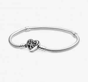 Bracciale Pandora Moments con maglia snake, chiusura a cuore e albero della vita - 19