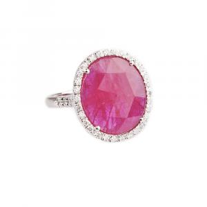 Anello con Diamanti bianchi e Rubino Burma