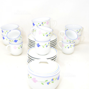 Service From Thè 6 Pieces + Plates + 6 Cups Coffee + Sugar Bowl White Flowers Pink Blue