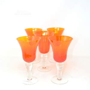 Glass Goblets Orange With Base Transparent 5 Pieces