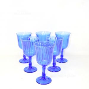 6 Bicchieri In Vetro Blu 15 Cm