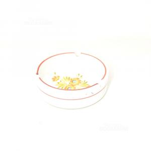 Posacenere Di Bassano Dipinto Fiori Arancioni Diametro 12 Cm