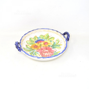 Plate Holder Ceramic Fruit Paoli With Handles Blue Decoration Flowers Diameter 22 Cm