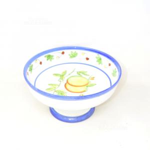 Alzatina In Ceramica Con Dipinto Centrale Limoni Diametro 26 Cm S