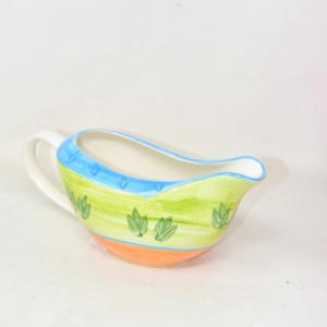 Zuppiera In Ceramica Disegno Foglie Verdi Linee Arancio Blu