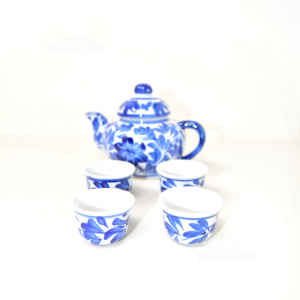 Teapot Mini With 4 Small Cups Decorate Blue