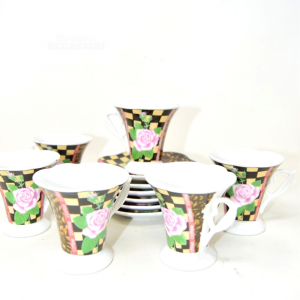 Cups Coffee 6 + 6 Plates Chicchi Of Coffee With Roses Central