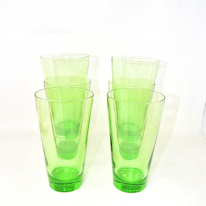 Glass Glasses Green Six Pieces