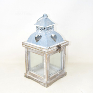 Lantern Holder Candle Wood And Tin Style Vintage 30 Cm