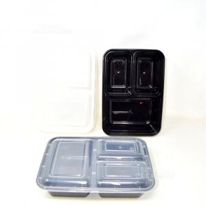 9 Contenitori Per Pranzo Neri In Plastica + Coperchio Trasparente 25x18 Cm Nuovo