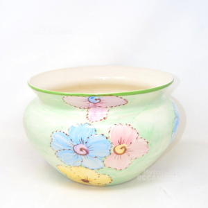Vase Holder Ceramic Flowers Green With Flowers Pink And Blue 31 Cm Diameter
