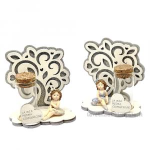 Portaconfetti Ballerina con albero della vita in resina 9.5x10 cm - Bomboniera comunione bimba