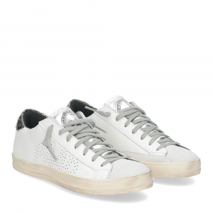P448 John-W sneaker bianca pitone verde