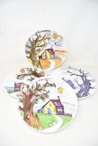 4 Ceramic Plates 4 Seasons - Langolo Spello Hand Painted (spring Defect)