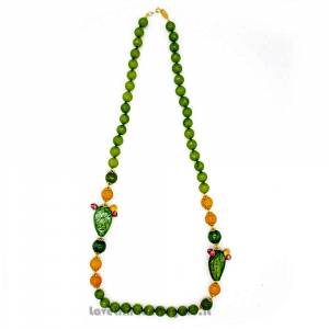 Collana agata verde e gialla con fico d'India in ceramica di Caltagirone - Gioielli Siciliani