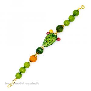 Bracciale agata verde e gialla con fico d'India in ceramica di Caltagirone - Gioielli Siciliani