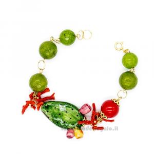 Bracciale con agata verde e rossa e fico d'India in ceramica di Caltagirone - Gioielli Siciliani