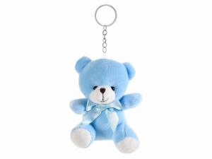 Orsacchiotto in peluche azzurro con portachiavi