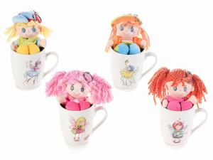 Tazza mug in ceramica con decoro fatina e bambola portachiavi