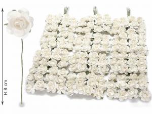 Rosellina artificiale in carta bianca per bomboniera