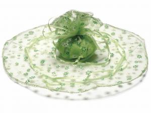Tulle in organza tondo stampa a fiori verde mela con tirante