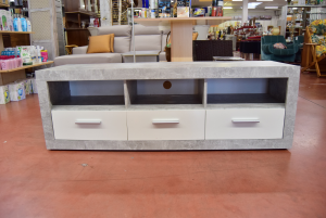 Cabinet Living Room Low Gray With Compartments And 3 Drawers White
