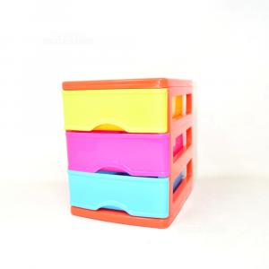 Porta Gioie In Plastica 3 Cassetti Arancione Verde Rosa Azzurro