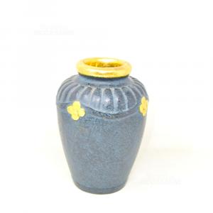 Vaso Decorativo In Legno Dipinto Nero Con Bordo E Fiori Dorati 24 Cm