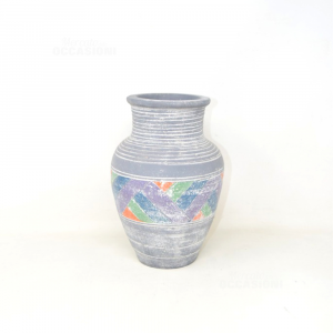 Terracotta Vase Gray Effect Lines Fantasy Geometric Purple Blue Green Orange 25