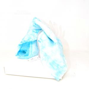 Foulard De Paolis 100% Seta Azzurro 86 X 86 Cm Nuovo