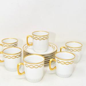 Servizio Tazzine Caffè 6 Pezzi + Piattini Porcellana Bavaria Bordo Oro