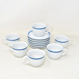 Servizio Tazzine Da Caffè Tognana + 6 Piattini Bordo Blu