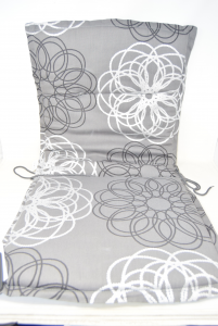 3 Pillows Coprisedie 100% Cotton Grey With Fantasy Flowers White 44x44 Cm + Sitting