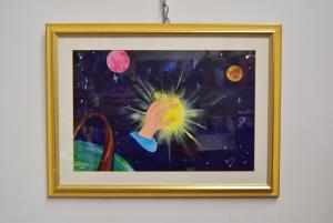 Quadro Dipinto A Mano Mano Con Galassia 77 X 57 Cm S