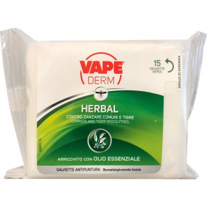 VAPE DERM Herbal Salviette Antipuntura 15 Pezzi