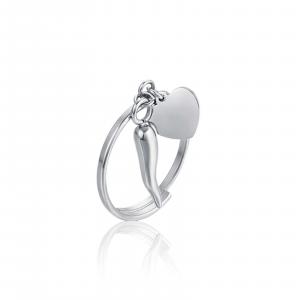 Anello donna Luca Barra con cuore e corno