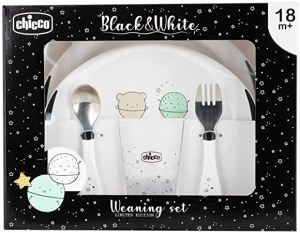 Chicco  Set Pappa Black&White 18m+ Pianeti, balena.