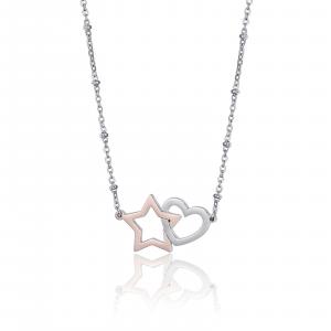 Luca Barra - Collana in acciaio con cuore in acciaio e stella rosé