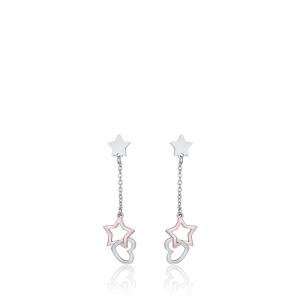 Luca Barra - Orecchini in acciaio con cuori in acciaio e stella ip rose