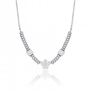 Luca Barra - Collana in acciaio con angelo con cristalli bianchi