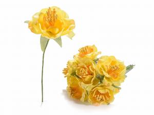 Anemone artificiale in stoffa gialla con gambo modellabile