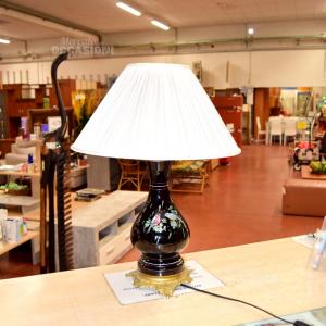 Lampada In Ceramica Nera Stampa Coppia Uccellini E Paralume Bianco 60 Cm