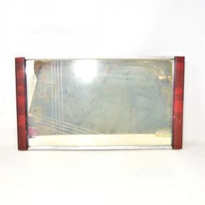 Vassoio Antico Specchiato Con Manici In Legno 47x26 Cm